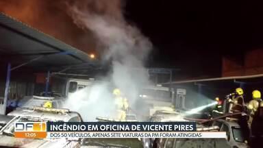 Incêndio em oficina destrói sete viaturas da PM - Fogo começou às 21h de ontem, em uma oficina mecânica em Vicente Pires, onde as viaturas estavam estacionadas para manutenção. Corpo de Bombeiros informou que apenas o resultado da perícia apontará as causas do acidente.