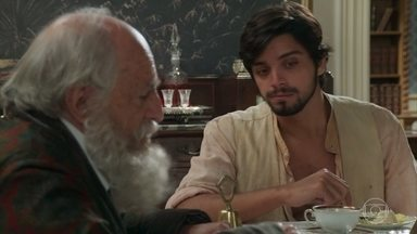 Ernesto discute com o Barão sobre a desigualdade social - O Barão pensa em demitir o rapaz pela insolência, mas acaba desistindo da ideia. Ernesto aproveita a oportunidade e pede um emprego para o pai