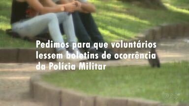Quase 7 mil processos de violência contra a mulher tramitam na Justiça em Ponta Grossa - Nesta reportagem especial, pedimos pra que voluntários lessem boletins de ocorrência da Polícia Militar sobre situações de violência doméstica. Veja como são as reações dessas pessoas.