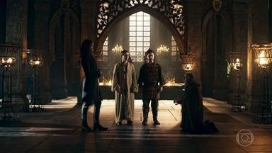 Rodolfo negocia com criminoso - O Rei explica o plano ao homem, que pede dinheiro em troca do falso enforcamento