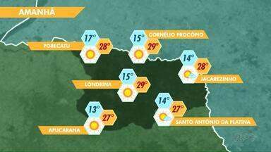 Meteorologia prevê sol e calor neste domingo (22) em Londrina - Os termômetros devem atingir 29 graus no meio da tarde. A semana segue com predomínio do sol.