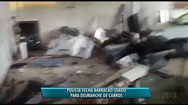 Polícia fecha barracão usado para desmanche de carros - O barracão ficava em Campo Magro, na região de Curitiba.