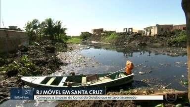 O RJ Móvel foi hoje a Santa Cruz - Moradores querem a limpeza do canal da Goiaba, que estava assoreado. A obra já começou.