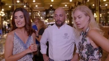 Angélica e Fátima Bernardes visitam Confeitaria Colombo no Rio - As duas conversam com o chef, Thiago Faro