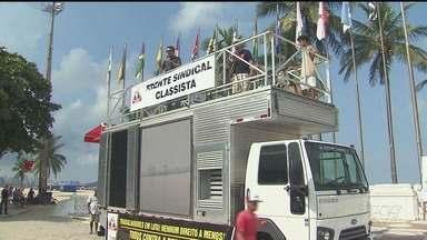 Grupos fazem manifestação pelo 1º de maio na região - Sindicalistas se reuniram na Praça das Bandeiras.