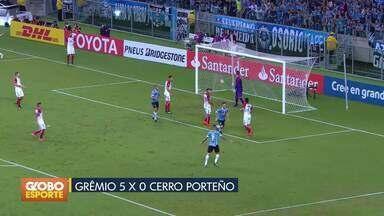 Grêmio goleia o Cerro Porteño pela Libertadores. - Em casa, gaúchos vencem por 5 a 0 e assumem liderança do grupo. Santos perde para o Nacional, no Uruguai.
