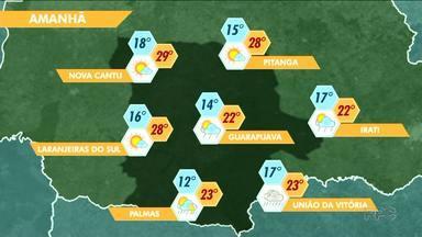 Veja como fica o tempo para Guarapuava e região nesta quinta feira - Sol deve brilhar, mas temperaturas não sobem muito. Existe também a possibilidade de pancadas rápidas de chuvas