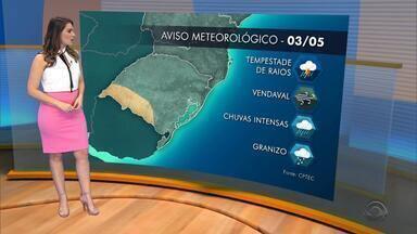 Tempo: quinta-feira (3) deve ter chuva na maior parte do Rio Grande do Sul - Assista ao vídeo.