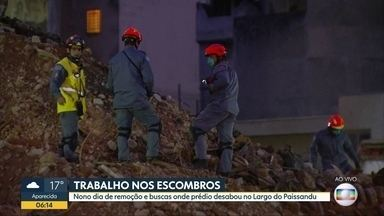 Bombeiros continuam buscas em escombros onde prédio desabou em SP - Buscas entram no 9º dia.