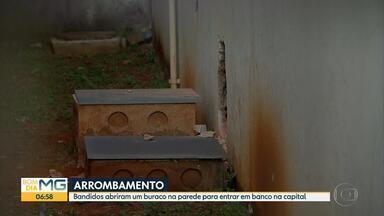 Criminosos abrem buraco na parede de banco, em Belo Horizonte - Agência fica na Avenida Olinto Meireles, no bairro Santa Helena, na Região do Barreiro.