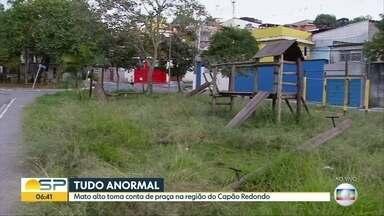 Mato alto e brinquedos quebrados em praça no Capão Redondo - Prefeitura Regional Campo Limpo promete cortar o mato ainda hoje e substituir os brinquedos