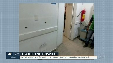 Tiroteio em hospital em Itaboraí causa pânico entre pacientes - Uma troca de tiros causou momentos de pânico em hospital em Itaboraí, na Região Metropolitana. Um homem teria chegado à unidade para matar um suspeito que estava internado com escolta policial. Um agente percebeu e houve o tiroteio.