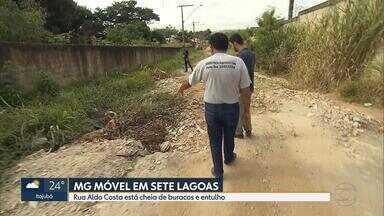 MG Móvel: Moradores em Sete Lagoas reclamam da buraqueira na Rua Aldo Costa - Em época de chuva, a via fica completamente alagada.