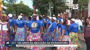 Grupos de quilombolas celebram os 130 anos da abolição da escravidão em Belo Horizonte - Uma parte da história dos negros foi mostrada na Praça da Liberdade, neste domingo.