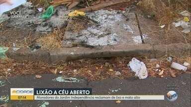 Moradores reclamam de descarte irregular de lixo no Jardim Independência em Ribeirão Preto - Mato alto também incomoda os vizinhos do terreno.