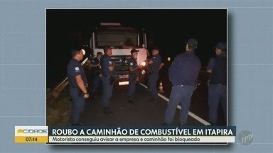 Grupo rouba caminhão de combustível em Itapira - Veículo foi bloqueado e os criminosos fugiram