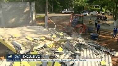 Área de quase 70 mil m² em Campo Grande é ocupada irregularmente - Dois lotes rurais estavam sendo transformados em um condomínio ilegal. Área tem quase 70 mil m². A Prefeitura derrubou as construções.