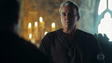 Otávio interroga o guarda da torre de Zéria - O Rei da Lastrilha ordena que Virgílio deve morrer, caso o homem não confirme suas suposições