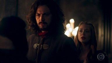 Afonso defende Amália das acusações de Dom Bartolomeu - Constância e Diana se preocupam com Amália e pedem ajuda ao Rei. A plebeia insiste que não tem nada a esconder. Afonso diz ao inquisidor que ninguém será queimado em Montemor
