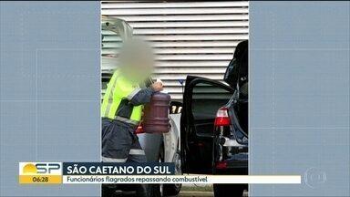 Funcionários da Prefeitura de São Caetano são flagrados tirando gasolinas de ambulâncias - Prefeitura disse que demitiu os funcionários terceirizados e vai abrir sindicância pra apurar e punir funcionários concursados