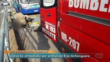 Idoso é atropelado por ônibus do Eixo Anhanguera em Goiânia - Ele atravessava fora da faixa quando foi atingido.