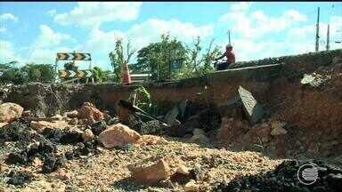 BR-343 ainda tem problemas após chuvas que romperam rodovia - BR-343 ainda tem problemas após chuvas que romperam rodovia