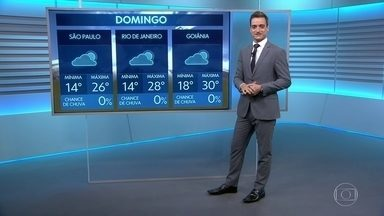 Frente fria se afasta do centro-sul do país e temperaturas aumentam neste domingo - Há risco de temporais no Rio Grande do Sul