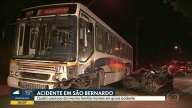 Acidente entre ônibus e carro mata quatro pessoas da mesma família - Colisão aconteceu em São Bernardo do Campo