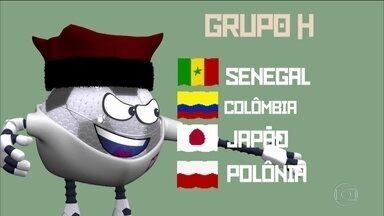 Globolinha apresenta o grupo H da Copa do Mundo - Senegal, Colômbia, Japão e Polônia compõem o grupo H da Copa do Mundo da Rússia.