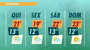 Chuva ainda deve atingir o norte do Paraná nesta quinta-feira (14) - As temperaturas também devem diminuir um pouco nos próximos dias.