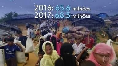 Número de refugiados bate recorde em 2017 - Foram 3 milhões a mais deslocados à força, segundo a Agência da ONU para refugiados. O levantamento mostra o aumento de pedidos também no Brasil.