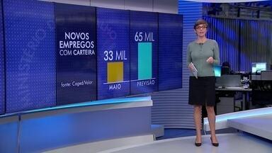 Em maio, geração de empregos formais fica abaixo do esperado - Os dados do Caged mostram que foram criadas 33 mil vagas com carteira.