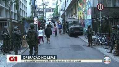 Forças de Segurança realizam operação nas comunidades da Babilônia e Chapéu Mangueira - Agentes da Aeronáutica, Marinha, polícia e bombeiros realizam uma operação conjunta nas comunidades da Babilônia e Chapéu Mangueira. Algumas ruas do entorno podem ser interditadas.
