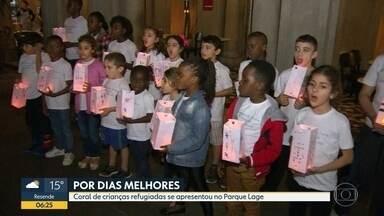 Crianças refugiadas cantam por dias melhores - Grupo se encontrou no Parque Lage em evento que marca o Dia Internacional dos Refugiados.