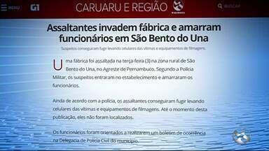 Assaltantes invadem fábrica e amarram funcionários em São Bento do Una - Suspeitos conseguiram fugir levando celulares das vítimas e equipamentos de filmagens.