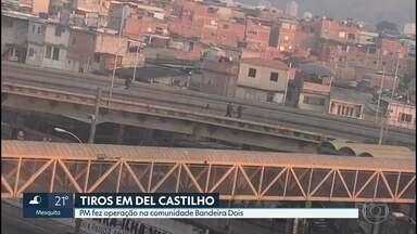 Policiais são baleados em Del Castilho - Viatura da PM foi atacada por bandidos no viaduto do bairro. Os policiais passam bem.