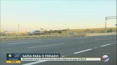 Jogo do Brasil altera saída para feriado de 9 de Julho nas rodovia da região - Feriado ocorre na segunda-feira, porém o jogo do Brasil contra a Bélgica será às 15h.