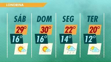 Tempo começa a mudar no Paraná no fim de semana - Em Londrina ainda tem sol no sábado e no domingo.