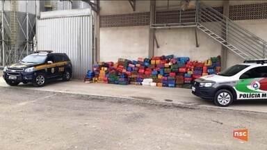 Operação apreende mais de cinco toneladas de maconha em meio a carga de milho na BR-470 - Operação apreende mais de cinco toneladas de maconha em meio a carga de milho na BR-470 em Rio do Sul
