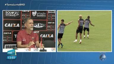 Vitória apresenta reforços para a temporada durante coletiva no Barradão - Confira também as informações do esporte com Mariana Aragão.