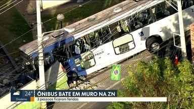 Ônibus bate em muro na Zona Norte - Três pessoas ficaram feridas