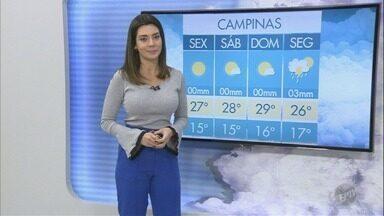 Saiba como fica a previsão do tempo para Campinas e região nesta sexta-feira - Umidade relativa do ar continua baixa. Em Campinas, as temperaturas variam entre os 15°C e os 27°C.