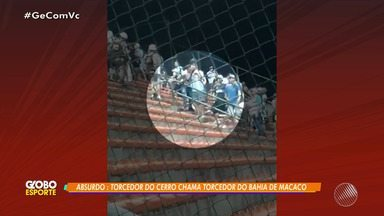 Torcedores do Cerro, do Uruguai, são acusados de injúria racial ao imitar macaco - Time enfrentou o Bahia na última quarta-feira (25), no estádio de Pituaçu, pela Copa Sul-Americana.
