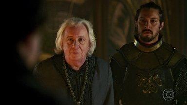 Gregório comunica a Afonso que Otávio quer encontrá-lo - O encontro deve ser feito numa zona neutra. Afonso, Augusto e Rodolfo discutem a escassez de pólvora