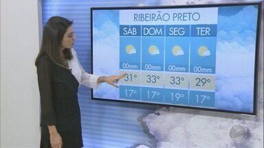 Veja a previsão do tempo para o final de semana na região de Ribeirão Preto - Temperatura máxima chega a 33°C.
