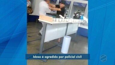 Policial Civil agride idoso em agência bancária de Cuiabá - Policial Civil agride idoso em agência bancária de Cuiabá.