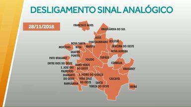 Dia 28 de novembro o sinal analógico de TV vai ser desligado na região de Cascavel - Quem tem TV de tubo ou TV fabricada antes de 2012 precisa de um kit com conversor, antena e cabos.