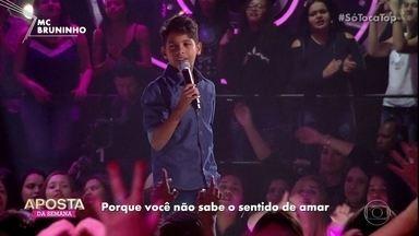 Mc Bruninho canta 'Jogo do Amor' - O jovem animou a galera do programa