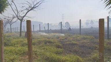 Queda de balão em rede elétrica provoca incêndio no Éden em Sorocaba - Um balão caiu na rede elétrica e provocou um incêndio na Estrada da Campininha, no bairro do Éden, em Sorocaba (SP), no fim da manhã deste domingo (29).