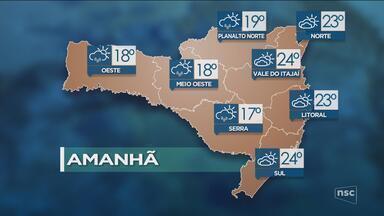 Veja como ficará o tempo em todas as regiões de SC nesta quarta-feira (8) - Veja como ficará o tempo em todas as regiões de SC nesta quarta-feira (8)